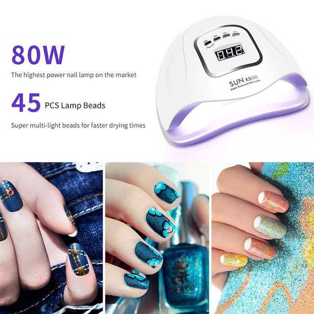 LED Nail Lamp for Manicure 80/54W Nail Dryer Machine UV Lamp For Curing UV Gel Nail Polish With Motion sensing LCD Display 1