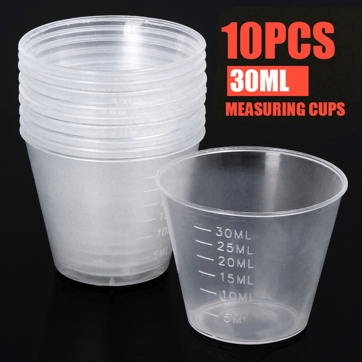 10pcs/lot 30ml Disposable Plastic Clear Measuring Cups Liquid Container Medicine Cups Home Kitchen Gadget Tool Measuring Cups