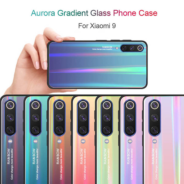 Tempered Glass Phone Case For Xiaomi Mi 9 Se Mi6X Aurora Gradient Colorful Cover Shell