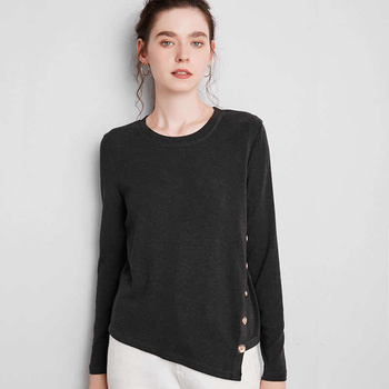 2020 Autumn New Simple And Sweet T-Shirt Women Loose Irregular Oblique Breasted Round Neck Long Sleeve Top simple long sleeves round neck solid color t shirt for women