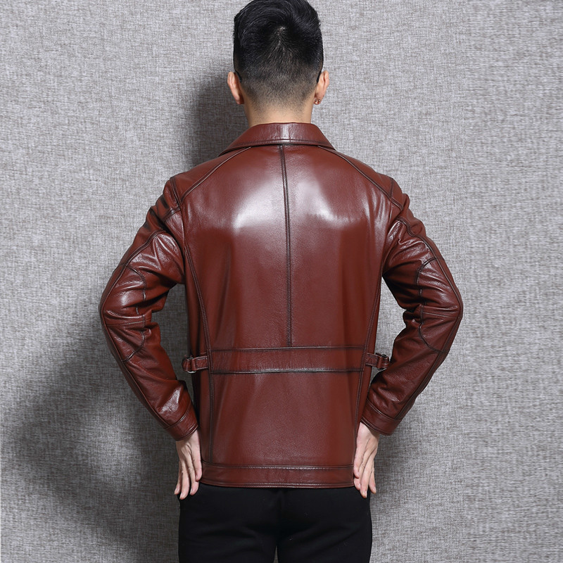 Genuine Cow Leather Jacket Men Motorcycle Autumn Cowhide Coat Brown Slim High Quality Men's Jackets L16C3106 KJ2244