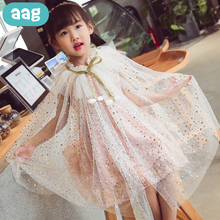 AAG Girl Dress Child Clothes Girls Rainbow Sequins Cape Cloak Costume Drawstring Tulle Princess Party Beach Mantle Girl Costume 2020 new bridal dress cloak tulle princess proof shawl party stage catwalk photographic portrait tulle cloak