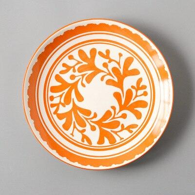 Креативный японский стиль 8 керамическая тарелка дюймовая посуда для завтрака говядины десертное блюдо для закусок простое мелкое блюдо домашнее блюдо для стейков - Цвет: 10