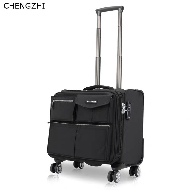 CHENGZHI 16 inch business suitcase on wheel trolley case boarding suitcase men and women travel rolling luggage 1