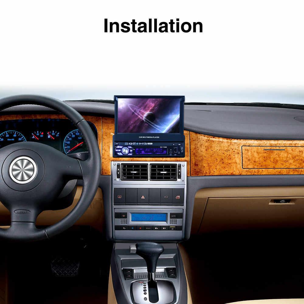 """เครื่องเสียงรถยนต์สเตอริโอวิทยุบลูทูธ 1DIN 7 """"HD Retractable Touch Screen Monitor MP5 SD FM USB ด้านหลังกล้อง"""