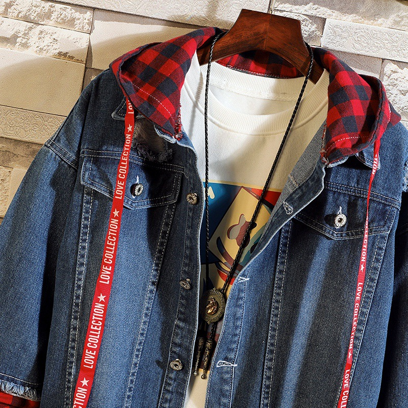 Fashion Streetwear Men Jackets Light Blue Destroyed Ripped Denim Jackets Men Hooded Coats British Style Hip Hop Jackets Hombre