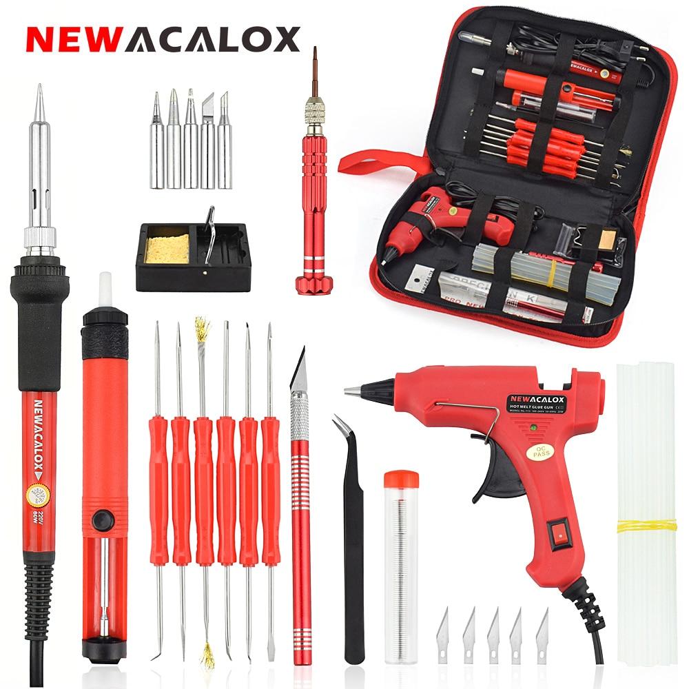 NEWACALOX EU / US 60w DIY Regolabile Temperatura Saldatore elettrico Kit di saldatura Cacciavite Pistola per colla Riparazione Coltello da intaglio