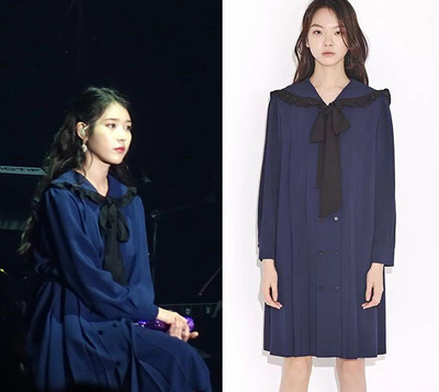 Image 2 - Navy blue tie bow dress for women DEL LUNA Hotel same IU Lee Ji Eun Long and Loose Japanese Dresses   Autumn and summer-in Dresses from Mother & Kids