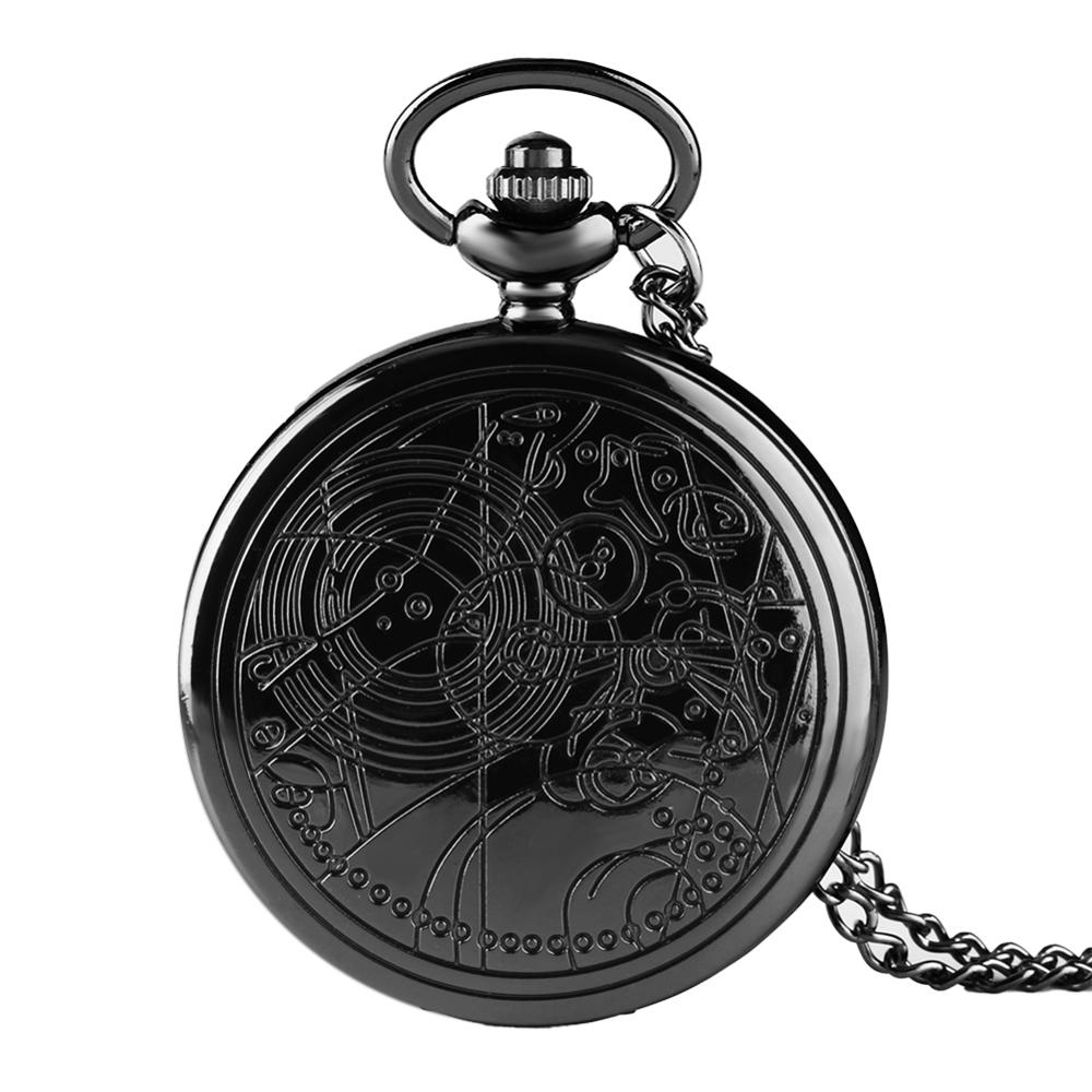 YISUYA Full Hunter Black Long Chain Retro Pendant Doctor Who Necklace Charm Quartz Vintage Pocket Watch Antique Style Gift