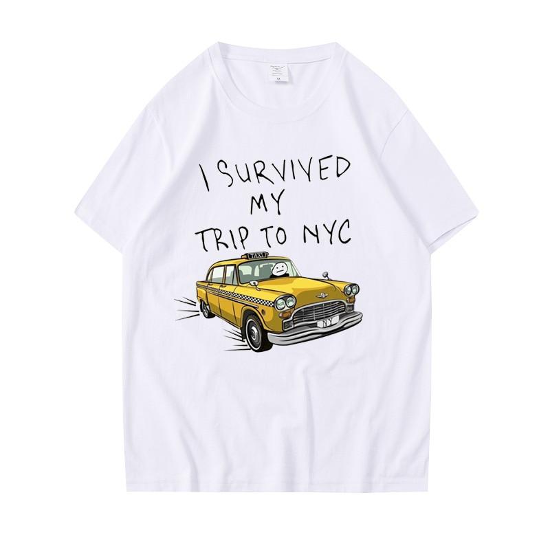 Футболки Tom Holland в таком же стиле, топы с принтом «я пережила моя поездка в NYC», Повседневная хлопковая уличная одежда для мужчин и женщин, мод...