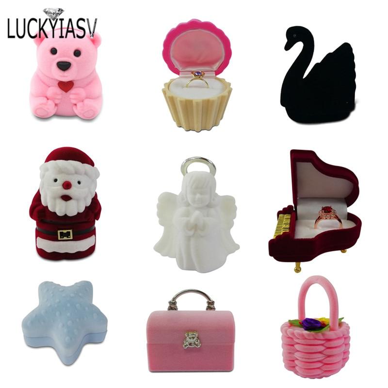 1 Piece Lovely Velvet Jewelry Box container Wedding Ring Box for Earrings Pendant Display Gift Box Holder Multiple styles