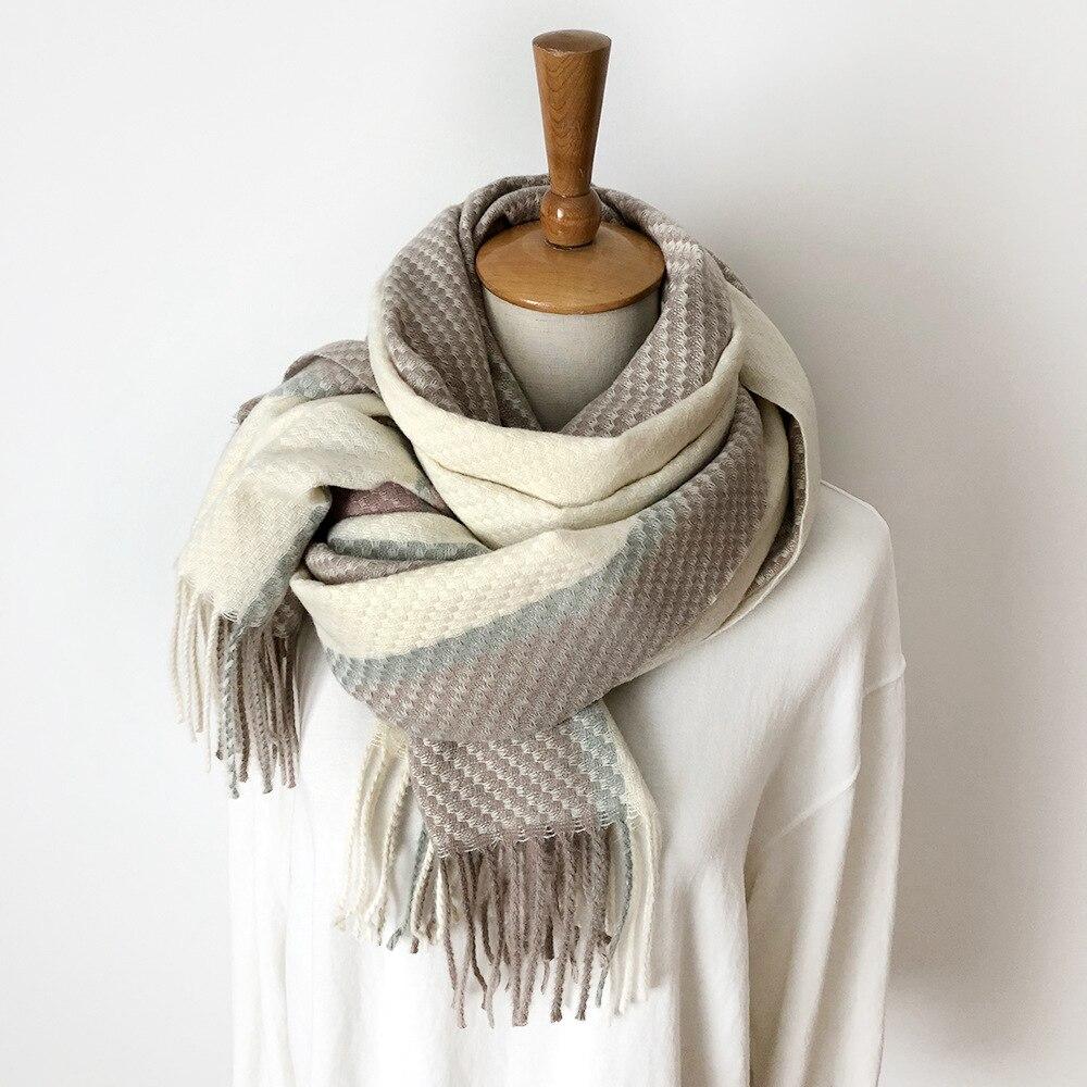 2019 Winter Scarf For Women Shawls Wrap Fashion Plaid Warm Thick Cashmere Scarves Lady Pashmina Female Bandana