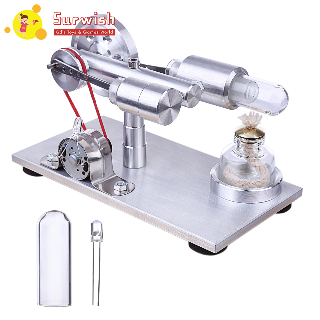 Sterling Glass Hot Cylinder Single Lamp Single Cylinder External Combustion Thermal Energy Steam Power Engine Model