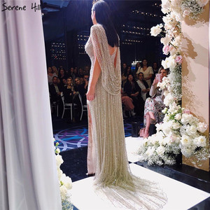 Image 5 - דובאי שמפניה יוקרה ללא שרוולים ערב שמלות 2020 יהלומי Sparkle ללא משענת סקסי פורמליות שמלת Serene היל LA70301