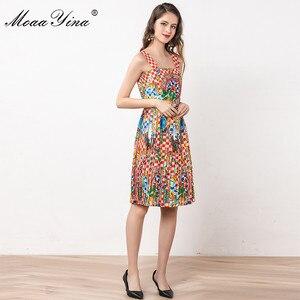 Image 4 - MoaaYina ファッションデザイナードレス夏の女性スパゲッティストラップビーズヴィンテージ休暇ドレス