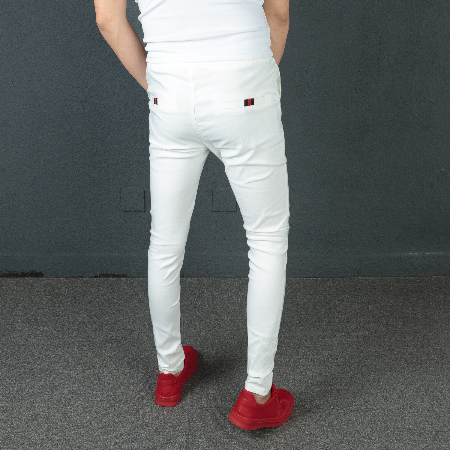 Deft Reds Celebrity Style Pants Lively Social Fella Korean-style Slimming Skinny Pants Youth Casual Pants Men's Fashion