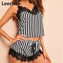 Leechee Striped Pajamas Set Women Sleepwear Black Lace V-Neck Pyjamas Sleeveless Spaghetti Strap Cute Cami Top Shorts homewear plus knot front striped cami with shorts
