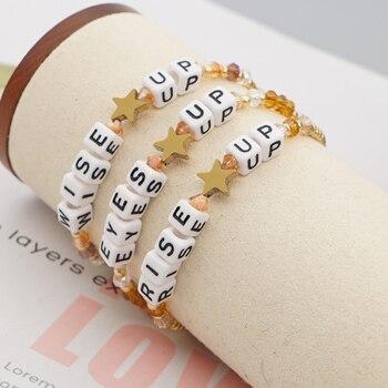Go2Boho-pulsera con letras para Mujer, cuentas chapadas en oro, Estrella japonesa, pulsera...