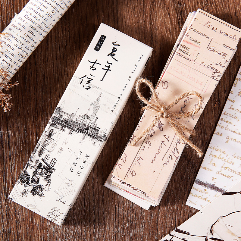 Journamm 30pcs/box Vintage Retro Style Clock Newspaper Map Bookmarks for Novelty Book Reading Maker Page Creative Paper Bookmark