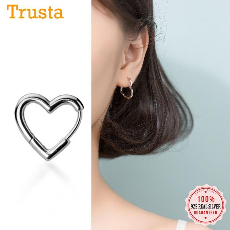 Trusta Heart  Earrings 925 Sterling Silver Heart Hoop Geometric Ear Cuff Clip On Earring For Women Girl Piercing  DS2434