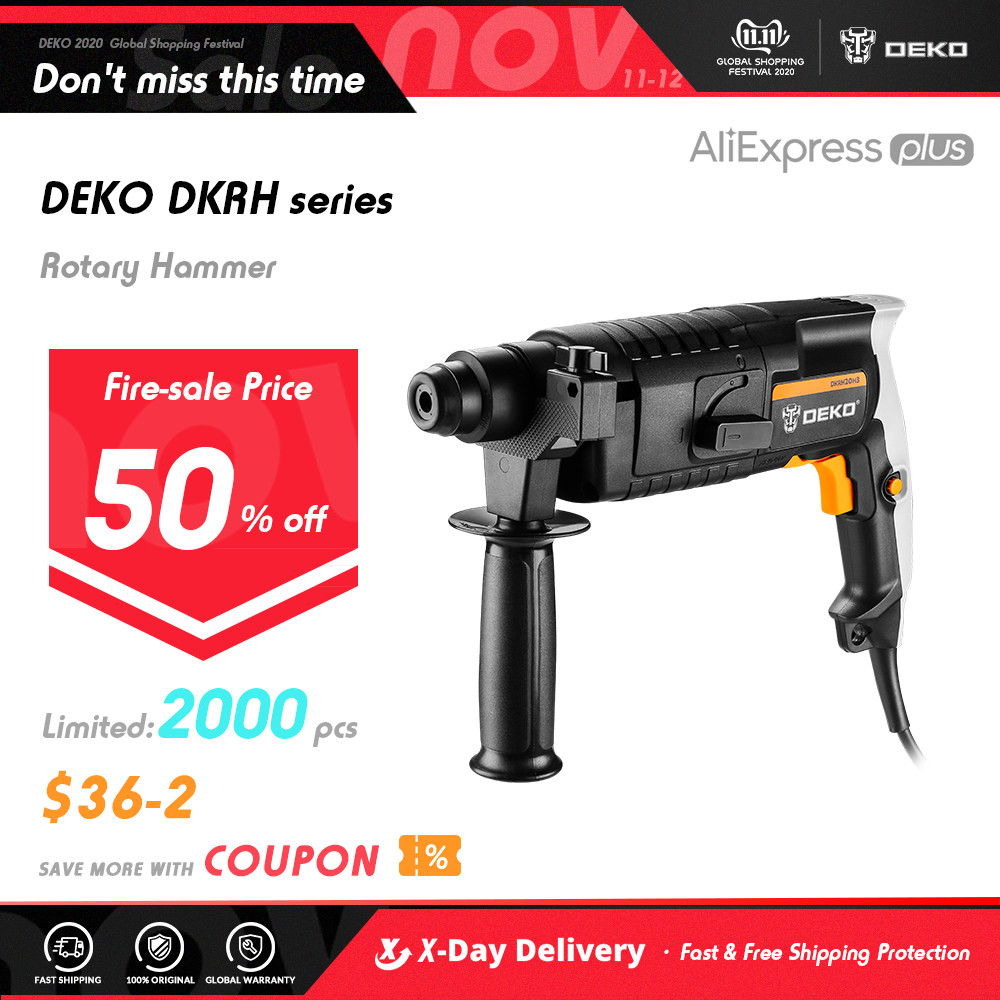 DEKO DKRH20H3 Multifunctional Rotary Hammer with BMC 3pcs Accessories Electric Demolition Hammer Impact Drill Punch Power