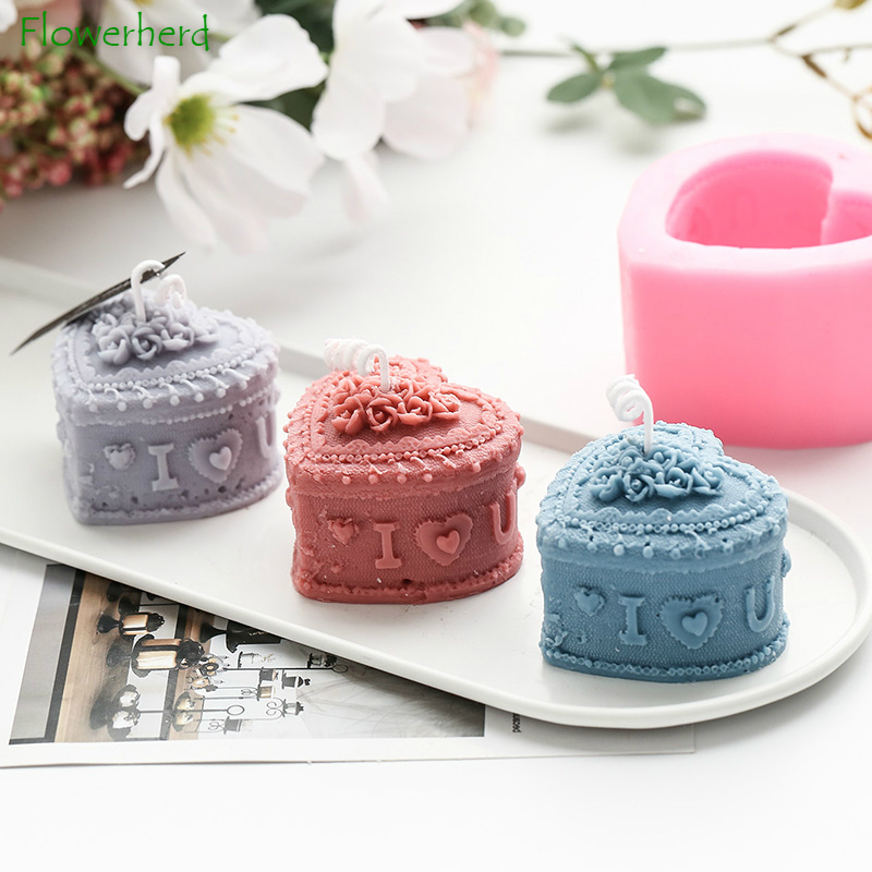 Heart Candle Mold Love Shape Silicone Candle Mold Christmas Cake Dessert Wedding Decoration Lace Handmade Soap Decorating Tools