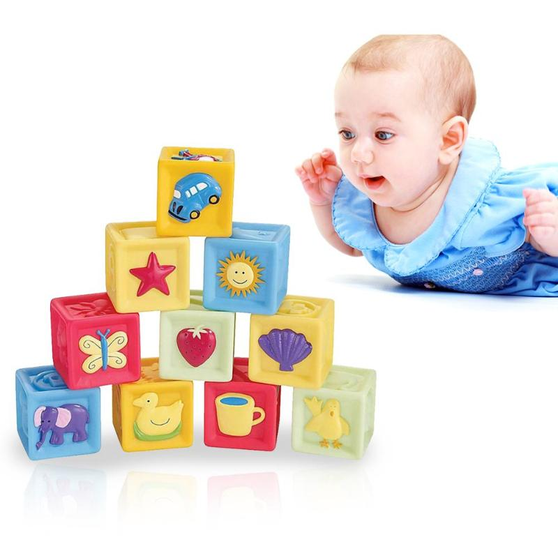 Infant Baby Cube Building Blocks Square Teether Squeeze Toy Environmental Friendly Non-toxic Bright Colours Kid Educational Gift