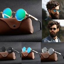 Винтажные Ретро Поляризованные солнцезащитные очки стимпанк Модные металлические круглые светоотражающие очки мужские круглые солнцезащитные очки UV400