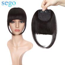 SEGO 23G прямые 100% настоящие человеческие волосы, челки Remy, аккуратные, тупые, подметая боковая челка, 2 зажима, передние волосы с бахромой, 1 шт.