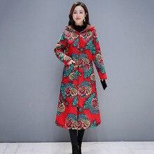 Winter Coats Women Long Jacket Fashion Parka Plus Velvet Thickening Warm Printing National Style Cotton Linen Hoodies Overcoat