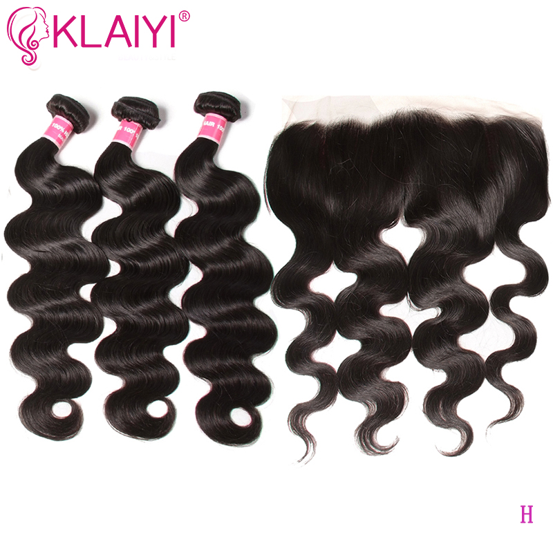 KLAIYI Hair 13x4 Lace Frontal With Bundles Brazilian Hair Weave Bundles With Closure Body Wave Bundles With Frontal Remy Hair