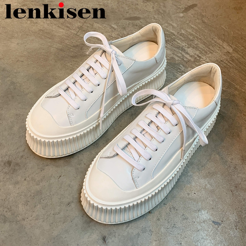 Lenkisen casual shoes genuine leather round toe med heel breathable young lady simple style lace up women vulcanized shoes L76