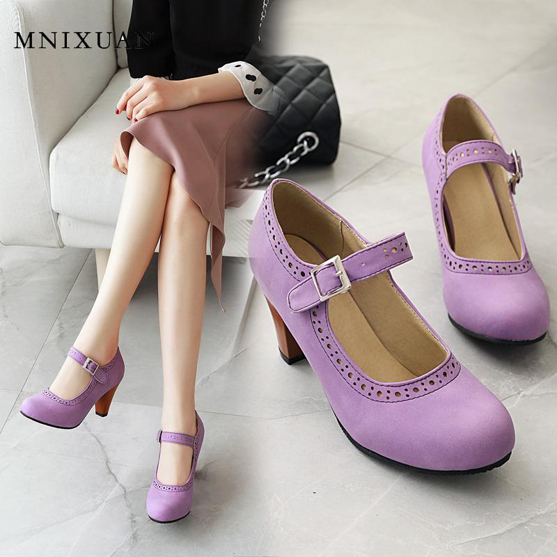 MNIXUAN Fashion Purple Wedding Shoes Sexy High Heeled Shoes Women Pumps 2020 New Round Toe Buckle Mary Jane Shoes Large Size 47