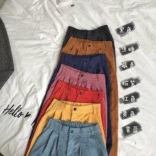 HOUZHOU Winter Corduroy Pants Women Korean Students Straight High Waist Trousers