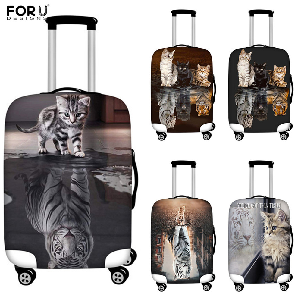 FORUDESIGNS Cat Reflection Tiger Print Travel Elastic Luggage Protective Covers Travel Suitcase Covers Accessories Organizadores