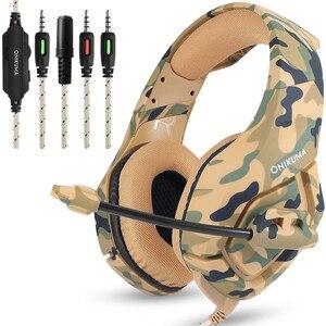 Image 1 - ONIKUMA auriculares K1 de camuflaje para PS4 cascos de graves para videojuegos, con micrófono, para PC, teléfono móvil, Xbox, One y Tablet