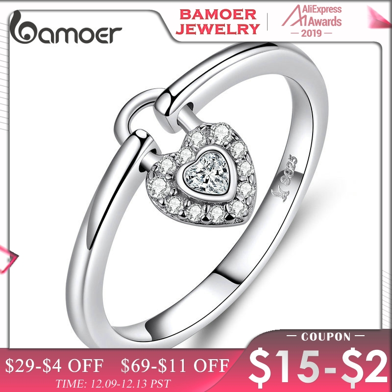 Bamoer Real 925 Sterling Silver Love Ring Heart Shape Lock Ring Zircon CZ Original Design Wedding Engagement Fine Jewelry GXR589