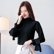 New Women Half High Collar Summer Blouse Sweet Bow Fashion Solid Color Women Blouses Tops Female Long Sleeve Casual Wild Shirt