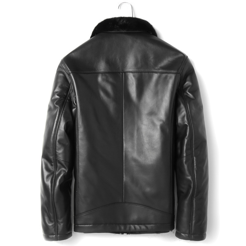 Winter Real Sheepskin Genuine Men Mink Fur Liner Mens Leather Jacket Warm Down Coat P12121501 YY420