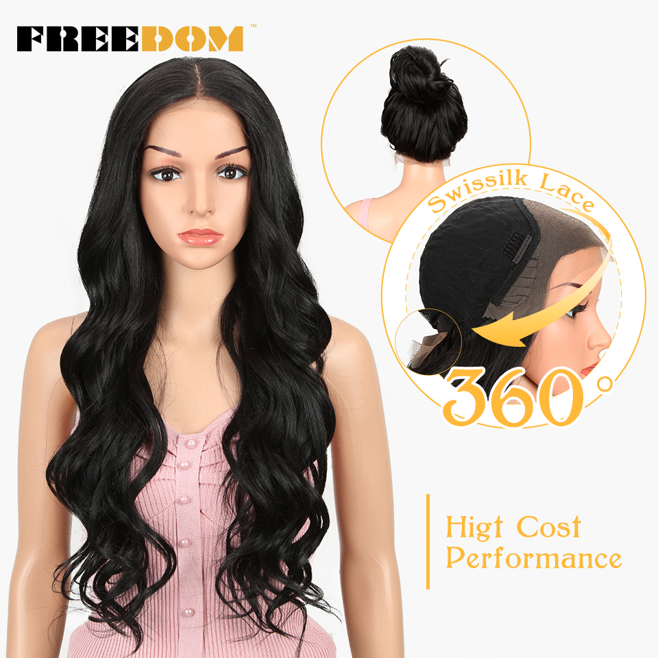 FREEDOM Free Parting Easy 360 Lace Front Synthetic Wigs For Black Women Ombre Blond Red Color Ponytail Supreme Hair cosplay(China)