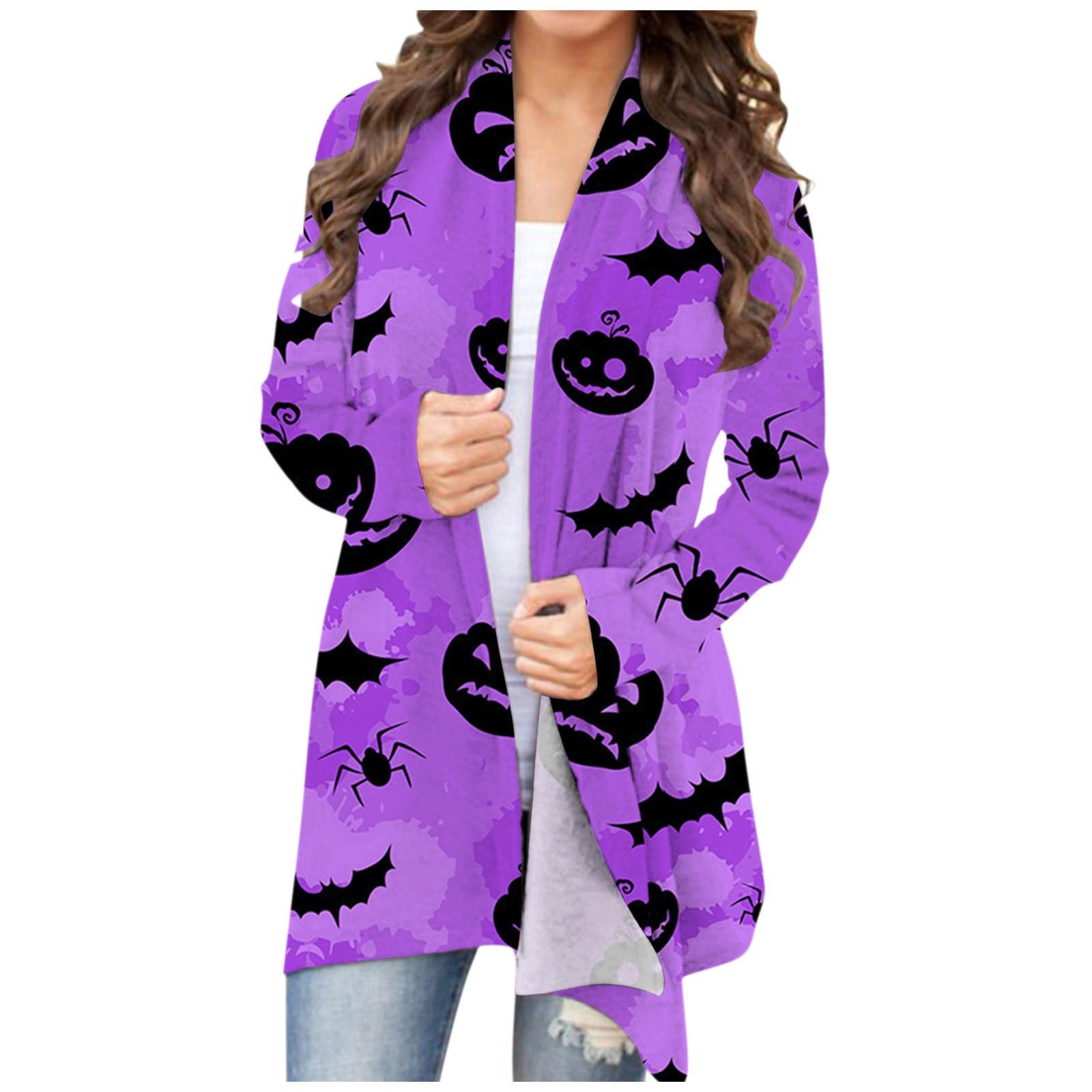 Owl Animal Print Women's Cardigan Casual Halloween Pumpkin Print Girl Top Long Sleeve Western Style Kawaii Funny Female Blouse