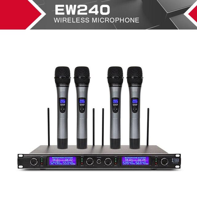 XTUGA EW240 4 Canali Sistema di Microfoni Senza Fili UHF Sistema di Karaoke Senza Fili 4 Microfono palmare per la Fase Chiesa Uso per il Partito
