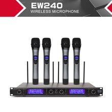 XTUGA EW240 Sistema de micrófonos inalámbricos de 4 canales, sistema de Karaoke UHF, micrófono de mano inalámbrico 4 para escenario, uso en Iglesia y fiesta