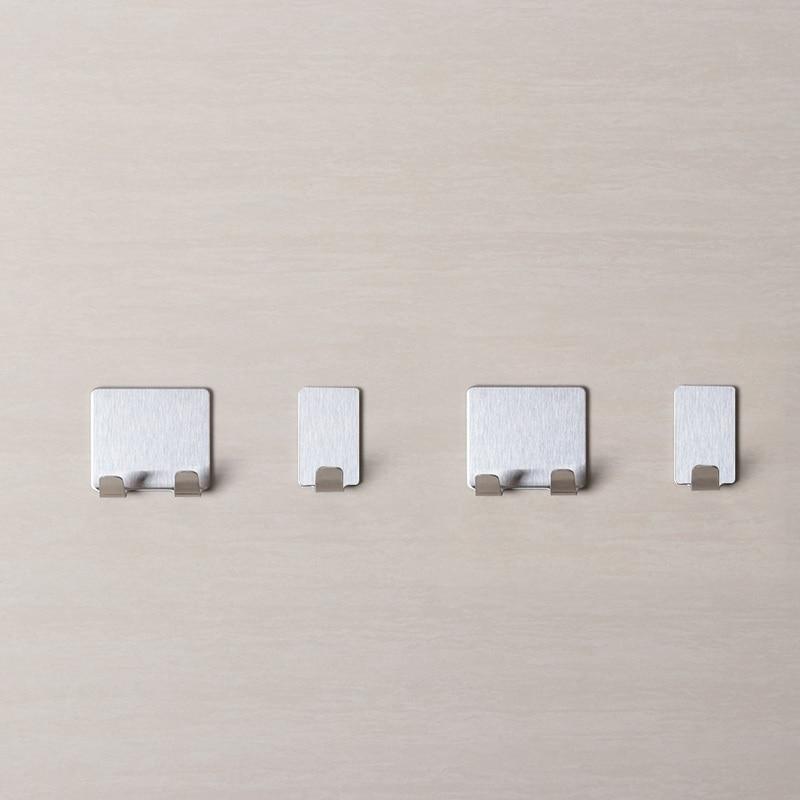 8Pcs Stainless Steel Towel Holder Storage Racks Hanging Hooks Seamless Adhesive Hooks Wall Hanger Kitchen Bathroom Supplies