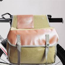 Bicicleta Vintage Pannier bolsa Rack trasero tronco bicicleta asiento trasero equipaje doble rollo-Bolso Retro encerado lona impermeable caqui