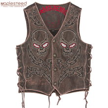 ヴィンテージスカル刺繍オートバイの革のベスト100% 本牛革ショーバイカー革ベストモト革チョッキM450
