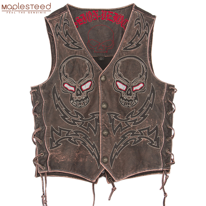 2019 Vintage Skulls Embroidery Motorcycle Leather Vest 100% Genuine Cowhide 4 Colors Short Men Biker Leather Vest Moto Leather Waistcoat Sleeveless Leather Jacket Plus Size 5XL M450