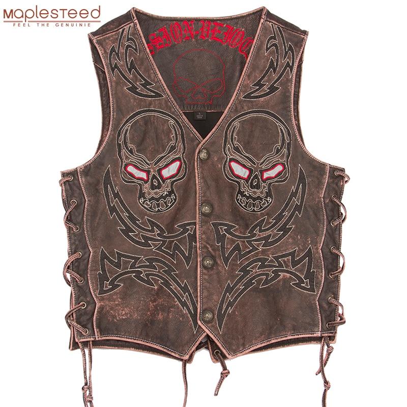 2019 Vintage Skulls Embroidery Motorcycle Leather Vest 100% Genuine Cowhide 4 Colors Short Men Biker Leather Vest Moto Leather Waistcoat Sleeveless Leather Jacket Plus Size 5XL M450