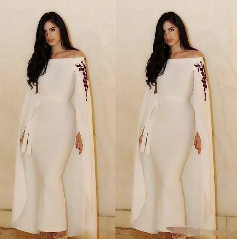 Saudi Arabic Mermaid Evening Dresses With Cape/Wraps Sash Ribbon Ankle Length Prom Dress Custom Off The Shoulder Prom Dresses