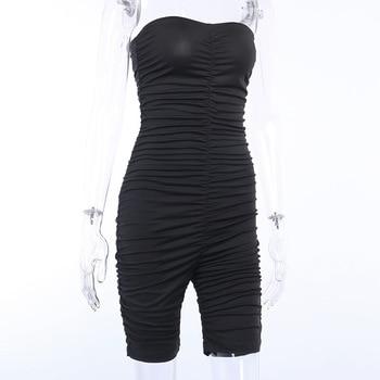 Forefair Black Sports Jumpsuit Women Sexy Strapless Ruched Slim Bodycon One Piece Bodysuit 2020 Summer Women Rompers 6